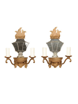 Pair French Gilt Metal Mirrored Sconces