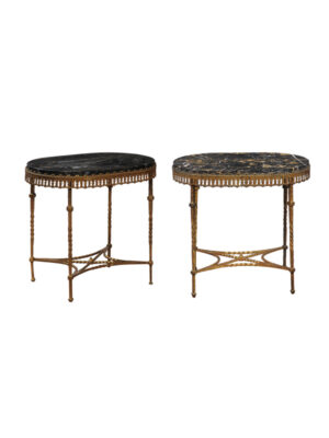 Pair Oscar Bach Gilt Metal & Marble Cocktail Tables