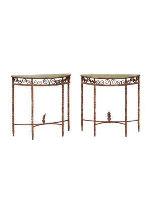 Pair Painted Iron Console Tables