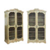Pair Rococo Style Green Painted Bookcases