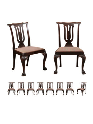 Set 10 Chippendale Style Dining Chairs