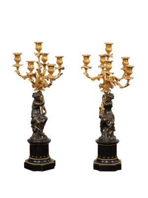 19th Century French Candleabra with Patinated Bronze Figures