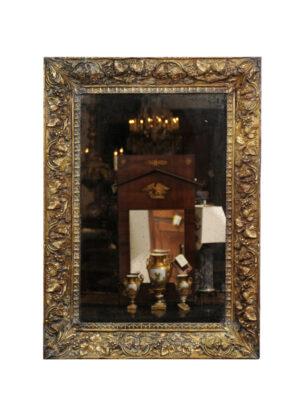19th Century Pressed Brass Mirror