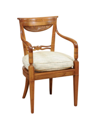 Neoclassical Style Walnut Arm Chair