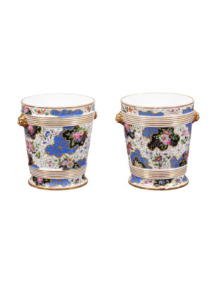 Pair 19th Century French Porcelain Cachepots