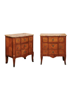 Pair Inlaid Petite Commodes w Marble Tops