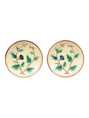 Pair Majolica Morning Glory Plates