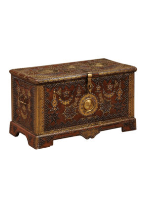 18th Century Brass Studded Walnut Trunk