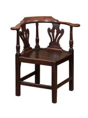 18th Century English Elm Corner Chair