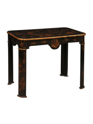 19th Century Black Lacquered Chinoiserie Side Table