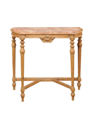 19th Century French Pine Console with Marble Top