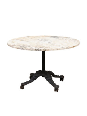 19th Century Iron Table with Round White Marble Top