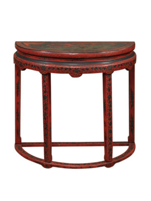 19th Century Red Chinoiserie Demilune Console