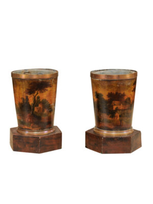 19th Century Tole Cachepots with Painted Landscape Scenes