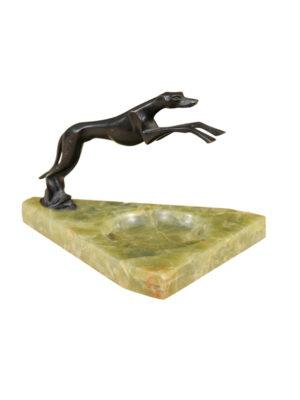 Bronze Greyhound Dog on Marble Base
