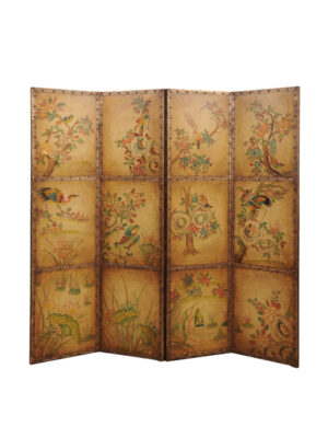 Folding Leather Screen with Bird Decoration