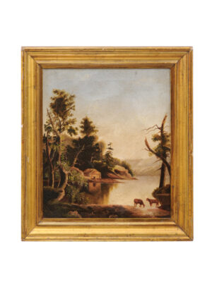 Giltwood Framed 19th Century Oil on Canvas Landscape