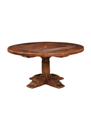 Inlaid Walnut Dining Table with Pedestal Base