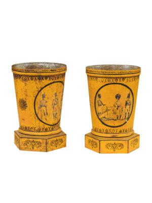 Pair Directoire Yellow Tole Cachepots