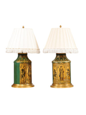 Pair Green & Gilt Tea Cannister Lamps