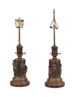 Pair Neoclassical Style Bronze Lamps