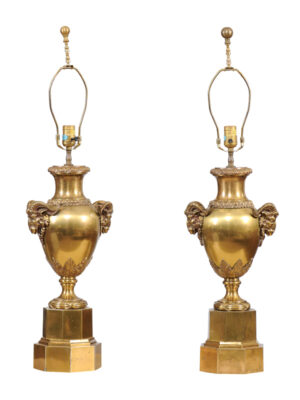 Pair of French Brass Urn Lamps