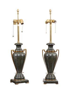 Pair of Green Marble & Brass Urn Lamps