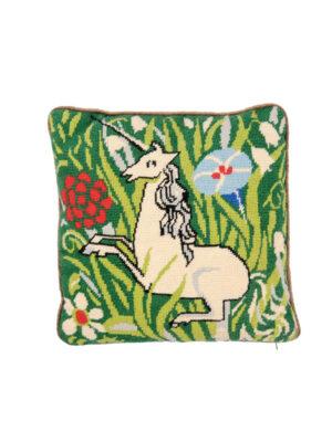 Vintage Needlepoint Pillow with Unicorn