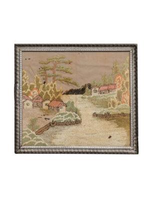 19th C English Embroiderd Landscape