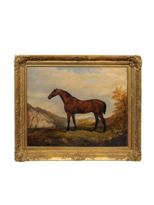 19th C English Oil on Canvas Horse Painting