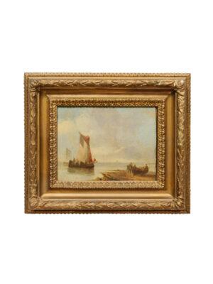 19th C. Oil on Board Coastal Scene
