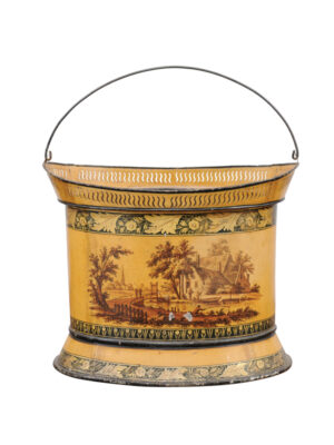 19th C. Yellow Painted Tole Bucket with Landscape Scene