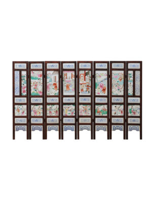 19th Century Chinese Porcelain Tile Screen