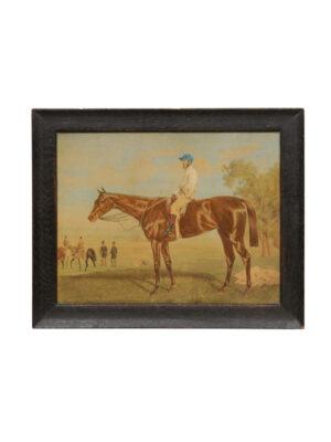 20th Century Framed Watercolor of Jockey on Horse