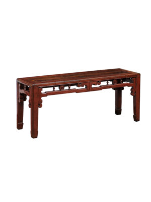 Chinese Export Red Lacquered Bench