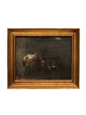 Giltwood Framed Oil on Board Painting of Horse Stable