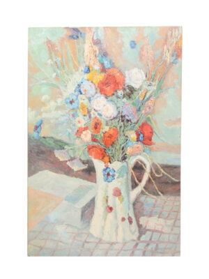 Oil on Canvas Stilllife of Flower Vase