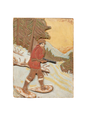 Painted Pine Plaque of Hunter