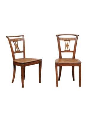Pair Directoire Side Chairs in Walnut
