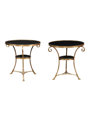 Pair French Style Brass Guerdons with Black Stone Tops