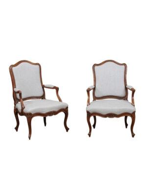Pair Louis XV Walnut Armchairs