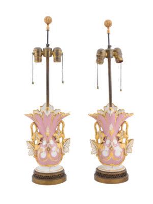 Pair Pink Porcelain Tulip Vase Lamps