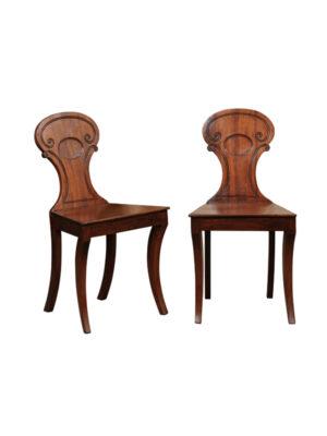 Pair Regency Style Mahogany Hall Chairs