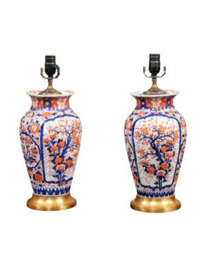 Pair of English Imari Lamps