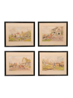 Set 4 Framed Hunt Scenes