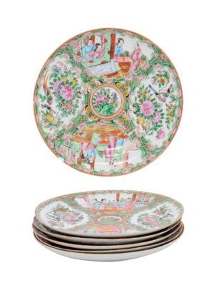 Set 6 Rose Medallion Plates