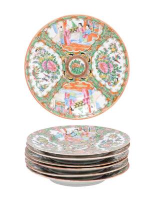 Set Rose Medallion Dessert Plates