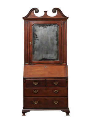 18th Century English Bureau Bookcase with Mirrored Door