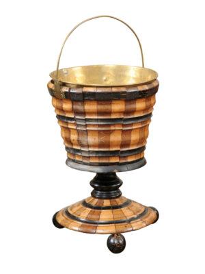 19th C. Fruitwood & Ebonized Peat Bucket