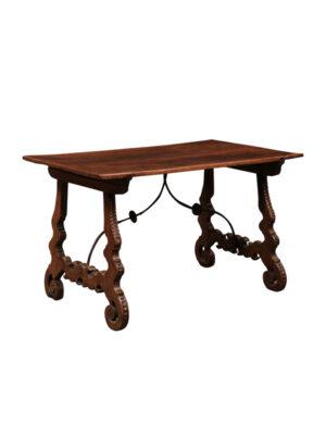 19th Century Italian Walnut Lyre Leg Table
